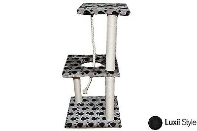 3 Tier Level Cat Tree w/ Rope & Scratching Posts Kitten Condo Furniture Kitty