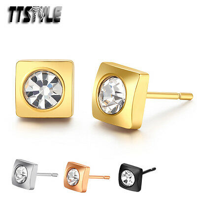TTstyle S.Steel Square Stud Earrings Sparkling Clear CZ Mens & Womens a Pair NEW