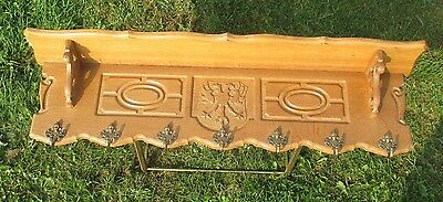 Large Vintage Carved Wood Eagle Motive Coat Rack 7 Brass Hooks Lovely