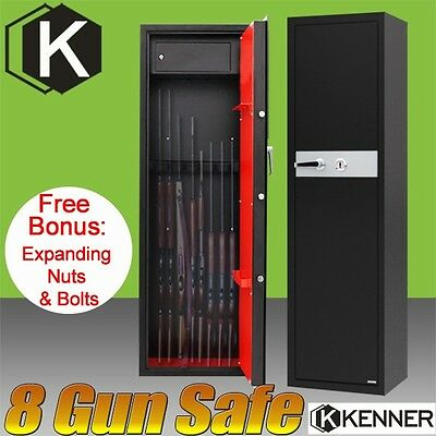 NEW 8 Rifle Storage Gun Safe Firearm Lockbox Steel Cabinet safes KENNER 7