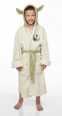 STAR WARS JEDI YODA Fleece Hooded Dressing Gown Bathrobe (Child Sizes)