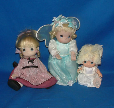 "Precious Moments Doll,(lot of 3) Burgendy,Angel,Baby 7"" L1259"