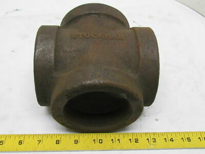"Stockham 3"" NPT Malleable Iron Cross Pipe Fitting Heavy Duty 4-Way Female USA"