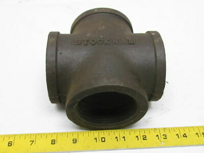 "2-1/2"" NPT Black Malleable Iron Cross Pipe Fitting 4-Way Female USA Class 150"