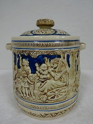 Antique fragile porcelain double handle canister w/lid German stein like scenes