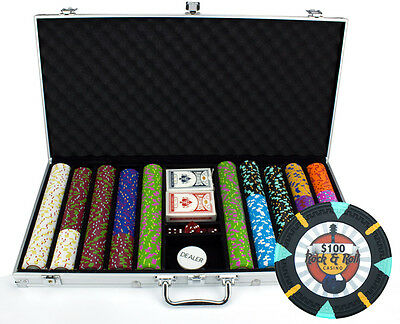 New 750 Rock & Roll 13.5g Clay Poker Chips Set with Aluminum Case - Pick Chips!