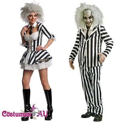 Licensed Mrs Mr Beetlejuice Outfit Fancy Dress Party Dress Halloween Costume
