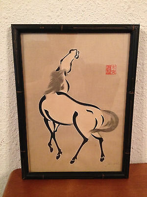Vintage Asian Chinese Signed Horse Print in Bamboo Style Frame