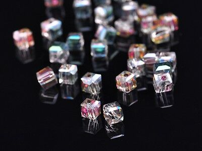 50pcs 4mm Cube Square Faceted Crystal Glass Findings Loose Beads Rose Red Green