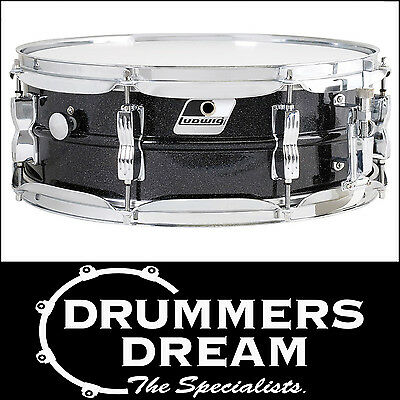 """NEW Ludwig Acrolite 14""""x 5"""" Black Galaxy Finish Aluminum Snare Drum with Chrome"""