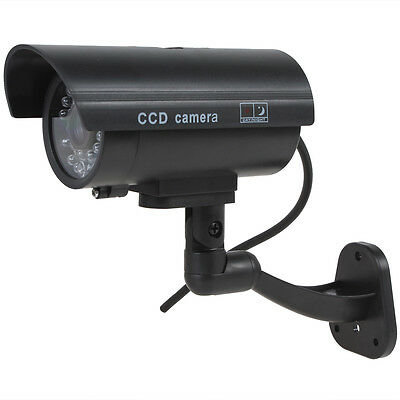 Flashing Light Dummy Security Camera Fake Infrared LED Surveillance CCTV