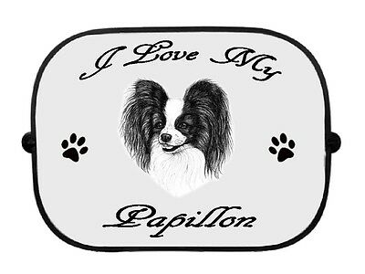 x1 Papillon Printed Dog Design Car Window Sun Shade by paws2print