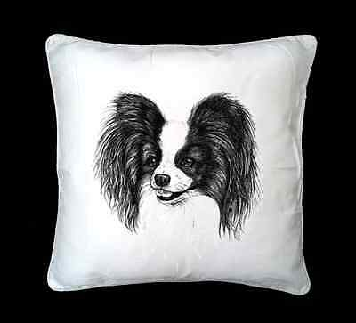 Papillon Dog Sketch Printed Design Faux Silk/Suede Cushion Cover by paws2print