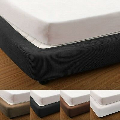 Elastic Fitted Box Spring Cover/Valance for Ensemble Bed Base, 4 Colours, 5 Size