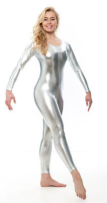 All Colours Shiny Metallic Halloween Fancy Dress Long Sleeve Catsuit KDC017 Katz