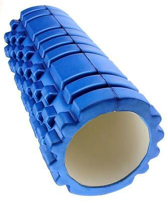 1 Blue Textured Yoga Foam Roller Exercise Gym Physio With Optional Pilates DVD