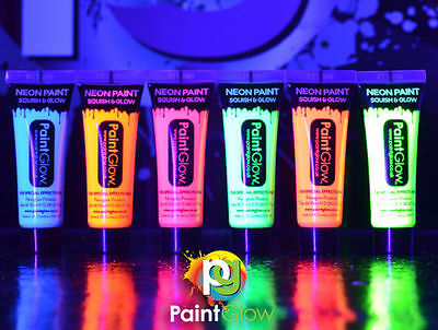 12x UV Neon Face & Body Paint 10ml SET of 12 UV Paint Stag Party Night Out Fancy