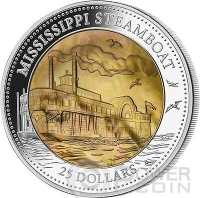 MISSISSIPPI STEAMBOAT Mother Of Pearl 5 Oz Silver Coin 25$ Cook Islands 2015