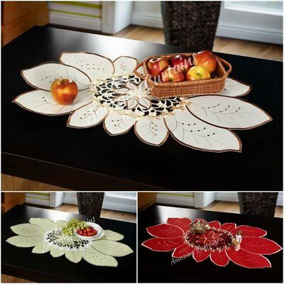 Amazing Embroidered Oval Small Table Runner Tablecloth 50 x 100cm Floral Pattern