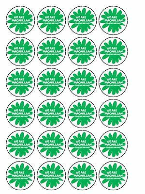 "30 x Macmillan Cancer Support 1.5"" PRE CUT Edible Rice Paper Cup Cake Toppers"