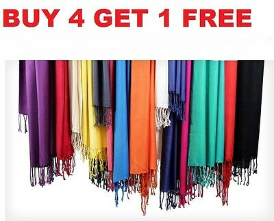 NEW Soft Classic Solid Colors PASHMINA Silk Cashmere Wool Shawl Scarf Stole Wrap