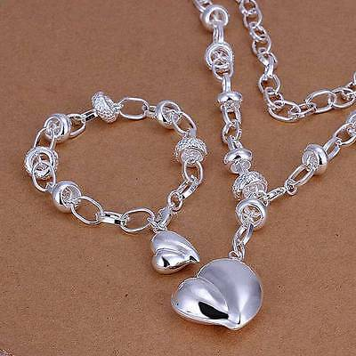 HOT 925 sterling silver peach heart necklace and bracelet set + box CS014