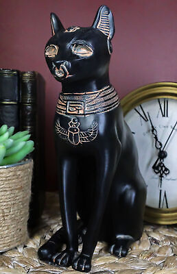 "Faded Black and Gold Ancient Egypt Felined God Bastet Cat Figurine 8.25"" Tall"