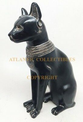 "Egyptian Faded Gold Black Feline Goddess Bastet Cat Form Ancient Figurine 5.25""H"