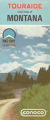 1972 CONOCO Continental Oil Road Map MONTANA Helena Butte Billings Great Falls
