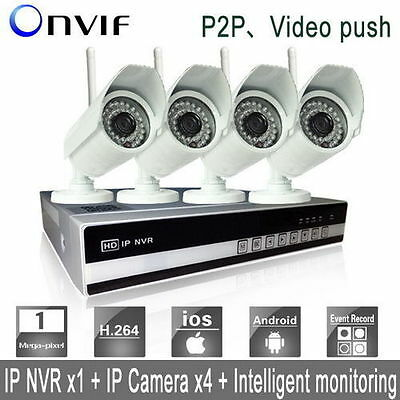4CH 1080P Network Video Recorder Wireless IP Security HD Camera NVR System wifi^