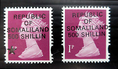 GB/SOMALILAND Machin 1d Provisional With & Without Star Unmounted Mint...FP583