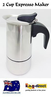 2 Cup Espresso Coffee  Percolator Stainless Steel Best Short Black Coffee Maker