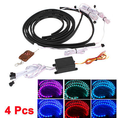 4pcs Car 7 Colors LED Under Car Glow Underbody System Lights Strip Kit Remote