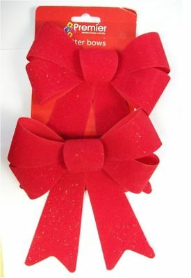 Premier Set Of 2 Red Velvet Glitter Bows Christmas Gift Bows Decor 20cm x 15cm