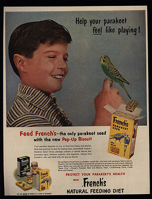 1956 FRENCH's Parakeet Seed - Boy Plays With Parakeet - VINTAGE AD