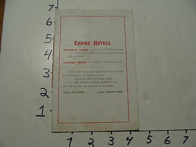 Vintage Travel Paper: EMPIRE HOTELS 20 pages, England