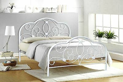 Alexis Double 4ft6 white metal bed frame bedstead