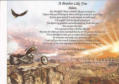 Personalized A Brother Like You Poem Great Gift for B-Day or any Occasion