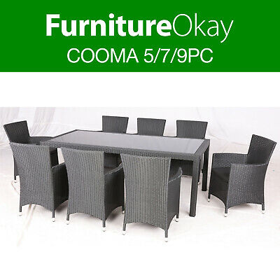 Cooma 5/7/9pc Wicker Rattan Outdoor Dining Patio Table Chairs Furniture Setting