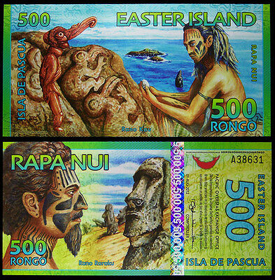 Easter Island 500 Rongo Polymer,2011,Uncirculated .1Pieces