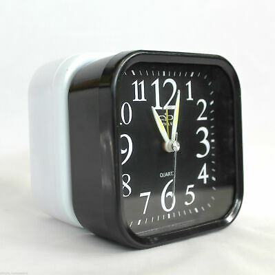 Minimalist Analog Alarm Clock Analogue Clocks Battery Desktop Table Bedside