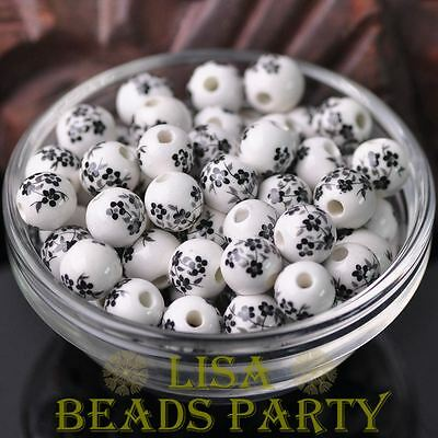 10pcs10mm Round Porcelain Ceramic Loose Spacer Beads Charms Black White