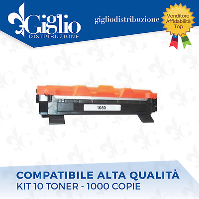 10 Toner Brother Dcp1510 - Dcp1512 - Hl1110 - Hl1112 - Mfc1810 Tn1050 Nero Compa