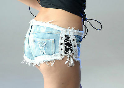 Pantaloncini donna shorts JEANS pizzo strass skinny aderenti hot pants lacci