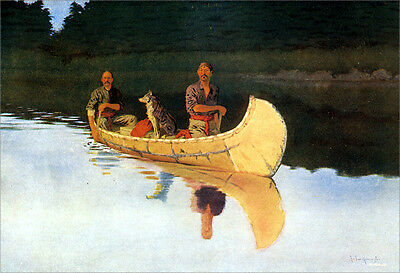 An Evening on a Canadian Lake  by Frederic Remington   Paper Print Repro
