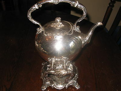 ANTIQUE OLD SHEFFIELD PLATE TIPPING ROUND TEAPOT ON STAND 1850
