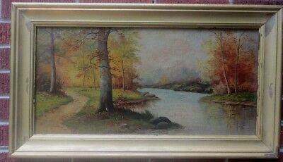 Antique AUTUMN Fall Landscape River TREES Painting by Geraldine D. SMITH c.1900s
