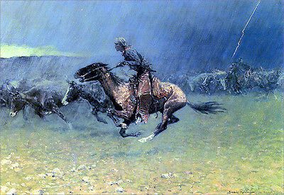 The Stampede  by Frederic Remington   Paper Print Repro