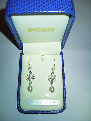 Posh Long Drop Pearl &Pearl In Middle Earring Genuine Glass Crystal GIFT BOX
