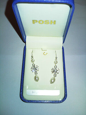 Posh Long Drop Pearl/Crystal In Middle Earring Genuine Glass Crystal GIFT BOX